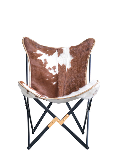 Cowhide Folding Butterfly Chair with Black and Gold Metal Base (Each one will vary)