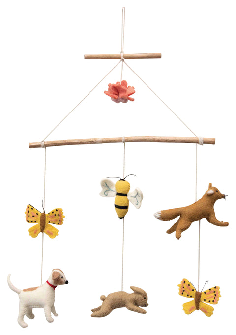 Wood and Wool Felt Animal Mobile with Butterflies, Bee, Rabbit and More