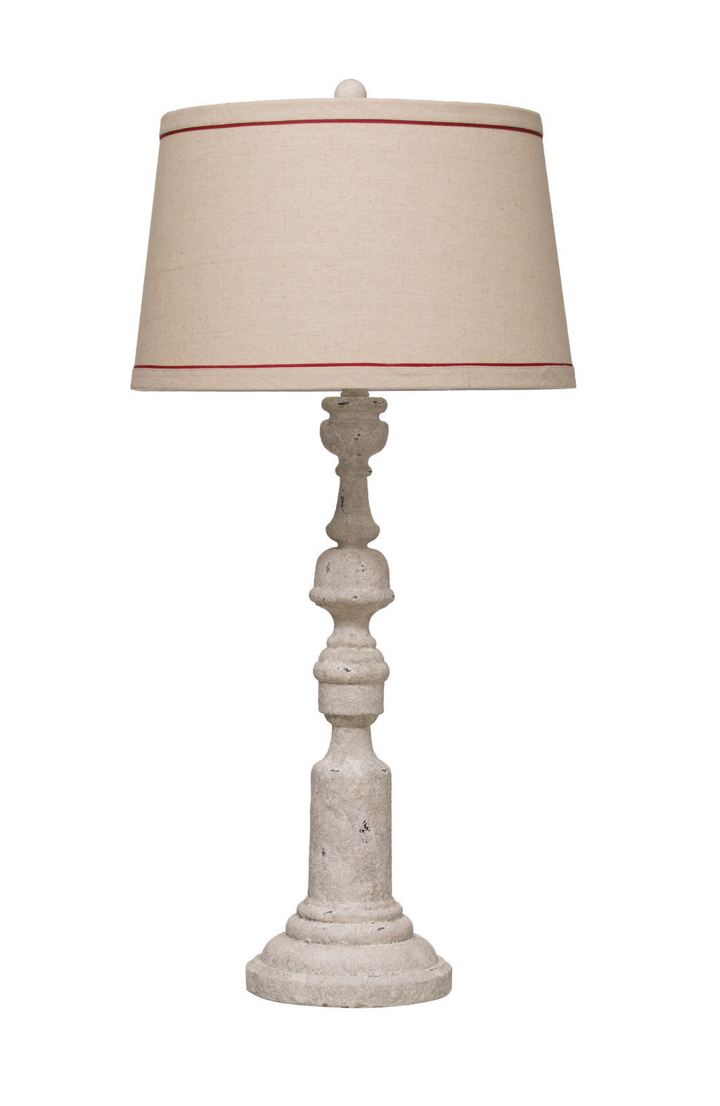 Resin Table Lamp with Distressed Antique Finish and Linen Shade