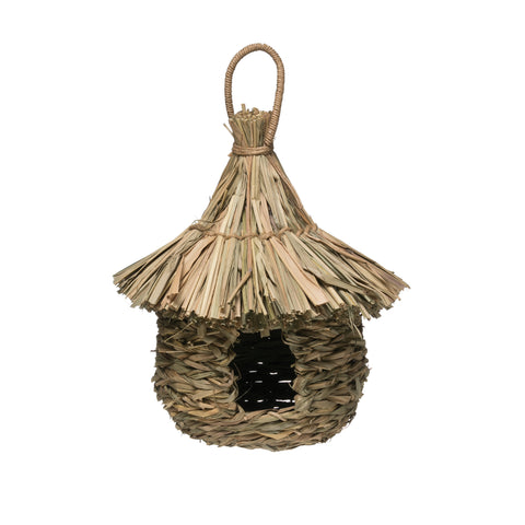 Woven Straw and Rattan Birdhouse