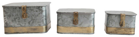Decorative Galvanized Metal Boxes with Lids and Brass Accents (Set of 3 Sizes)