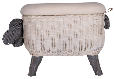 Sheep-Shaped Rattan Woven Stool with Upholstered Lid and Storage Lining