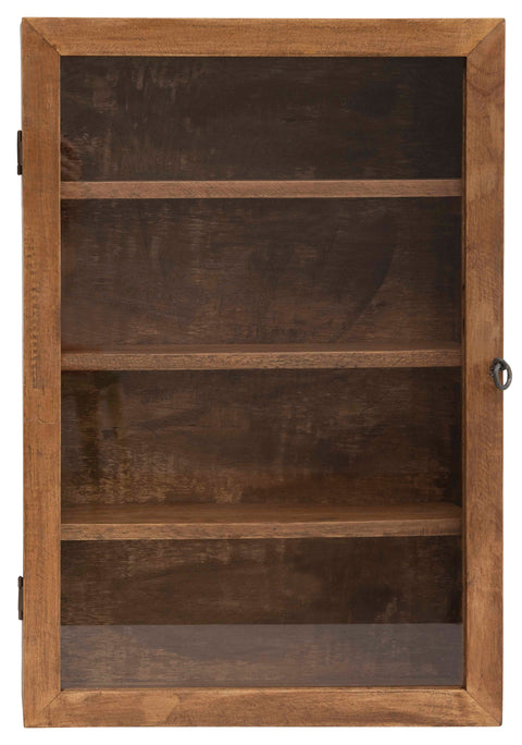 "24""H Mango Wood Cabinet with 4 Shelves and Glass Door with Hook and Eye Lock (Hangs or Sits)"