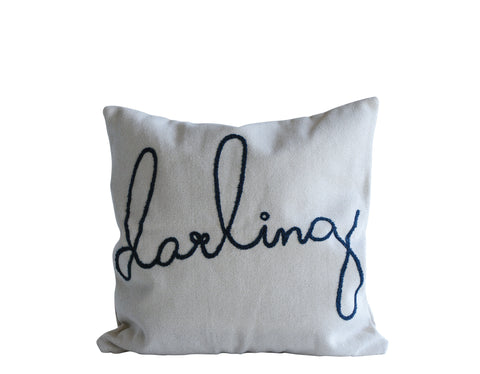 "Square Cotton Cream and Blue ""Darling"" Pillow"