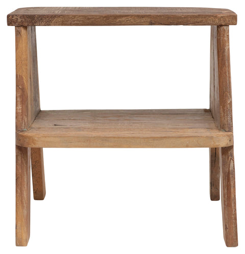 Reclaimed Wood Step Stool/Accent Table with Shelf