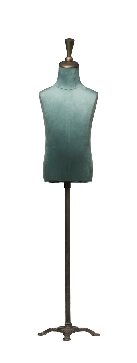 Adjustable Height Metal, Wood and Velvet Mannequin Stand with Triangle Base