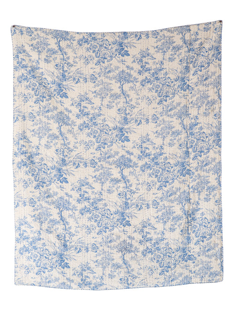 White and Blue Cotton Chambray Throw with Toile Pattern and Kantha Stitch
