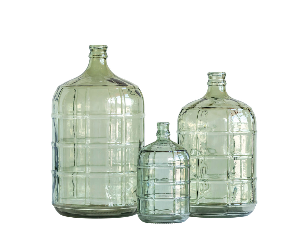 Large Transparent Green Vintage Reproduction Glass Bottle with Embossed Windowpane Design