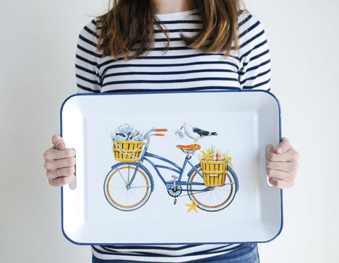 White Enameled Metal Tray with Bicycle and Seagull