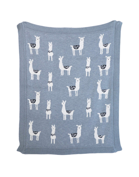Grey Cotton Knit Llama Blanket