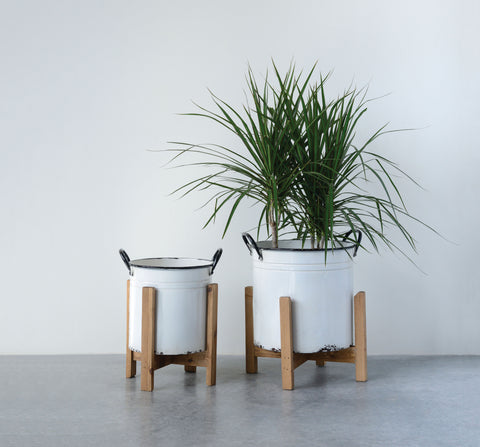 Distressed White Metal Planters with Black Rim and Handles on Natural Wood Stands (Set of 2 Sizes)