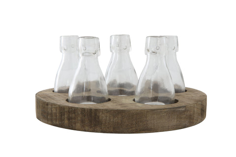 Round Wood Tray with 6 Clear Glass Vases (Set of 7 Pieces)