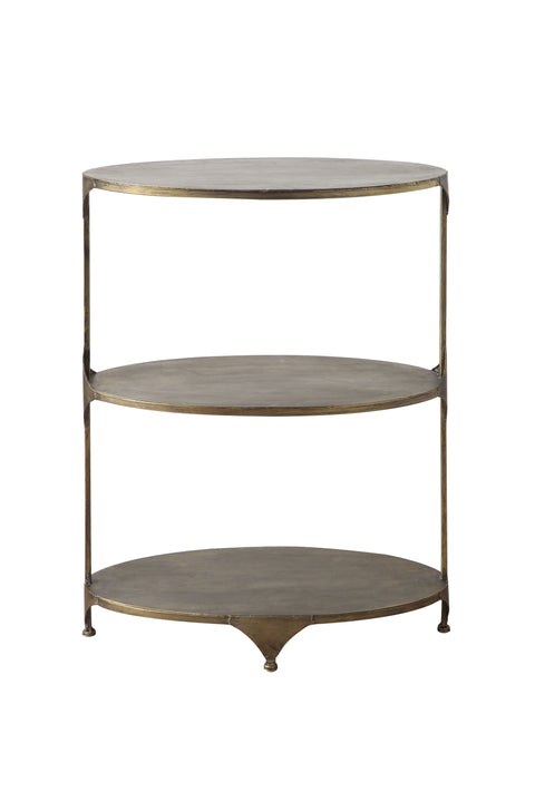 Antique Gold Oval Metal 3-Tier Shelf/Side Table