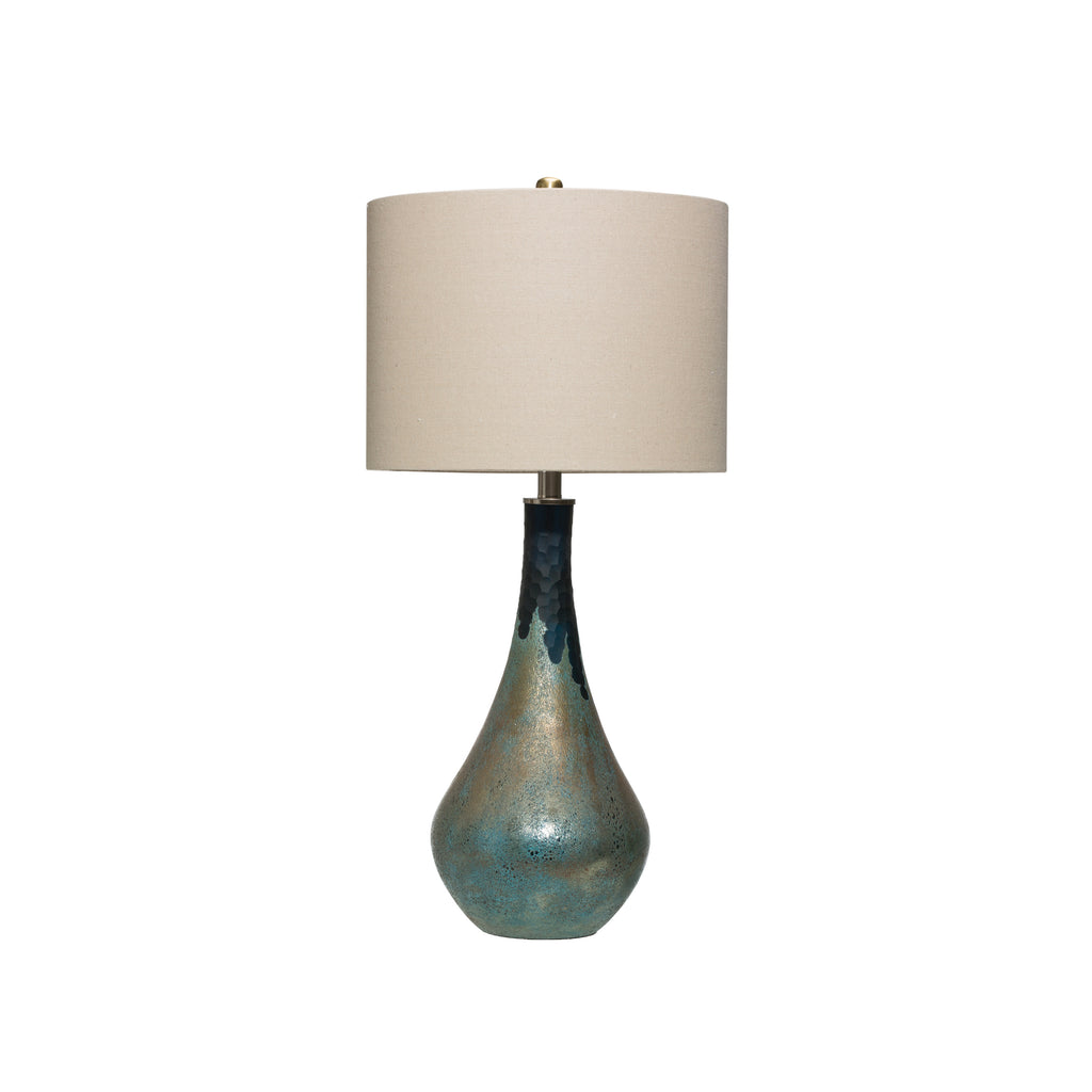 Glass Table Lamp with Opal Finish and Linen Shade