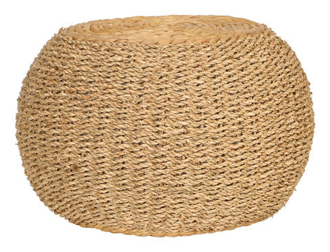 "10""H Handwoven Seagrass and Water Hyacinth Pouf/Pedestal"