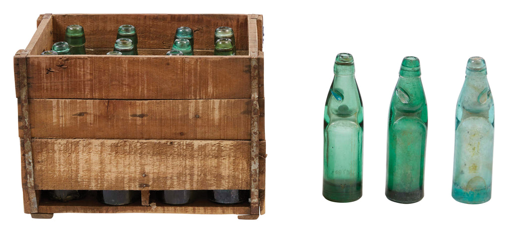 12 Found Recycled Glass Banta Soda Bottles in Wood Crate (Each one will vary)