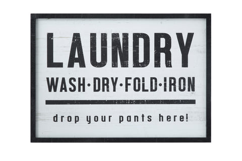 """Laundry, drop your pants here!"" Wood Framed Wall Décor"