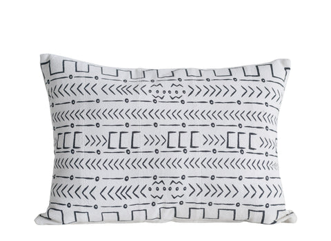 Black and White African Mudcloth Patterned Cotton Pillow