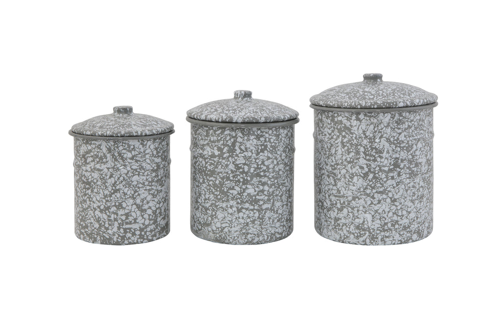 Enameled Grey Splatterware Containers with Lids (Set of 3 Sizes)