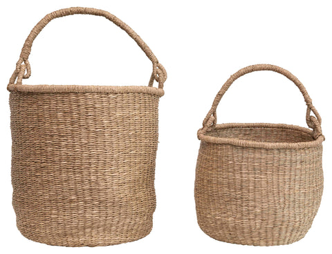 "20.5"" and 16"" Handwoven Seagrass Baskets with Handles (Set of 2 Sizes)"