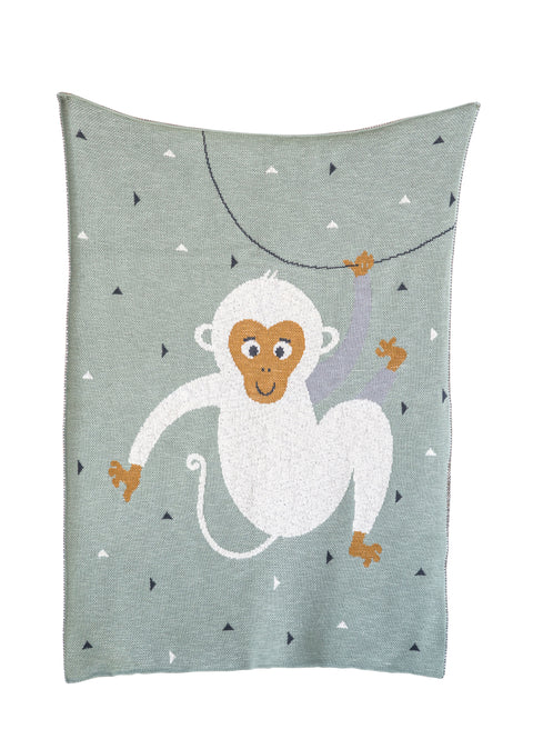Mint Green Cotton Knit Monkey Blanket