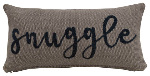 """Snuggle"" Embroidered Rectangle Cotton Lumbar Pillow"