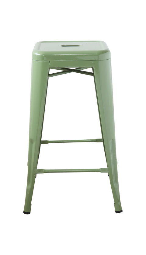 Vintage Style Green Metal Stool