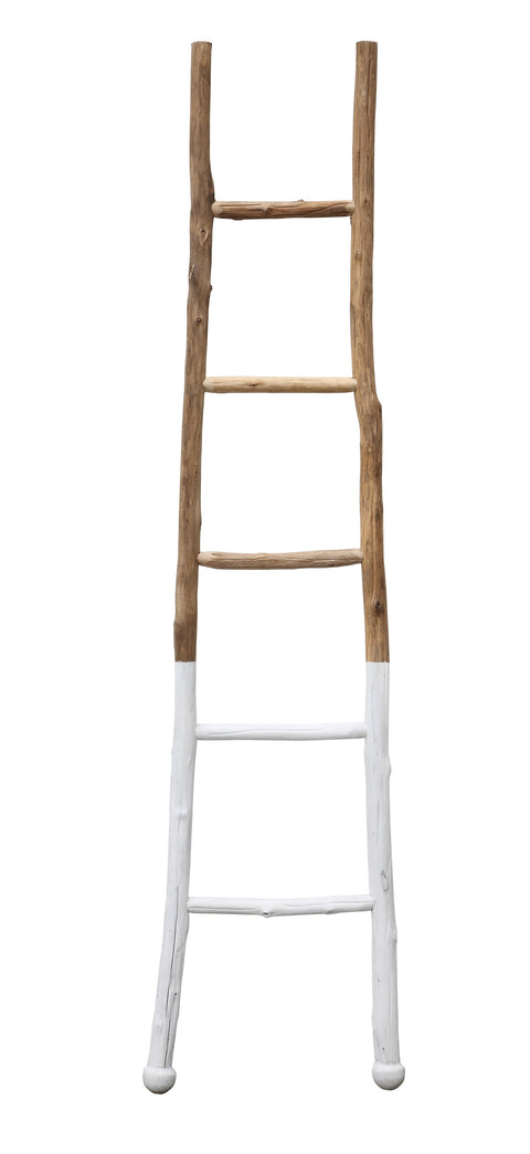 "72.5""H Decorative Fir Wood Ladder with White Dipped Section"