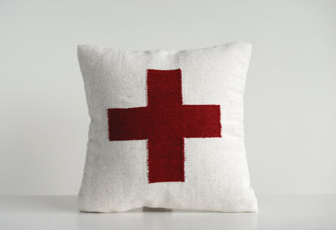 Square Cream Wool Blend Pillow with Red Cross