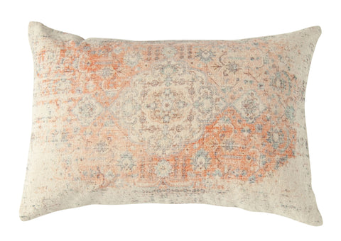 Heavily Distressed Multicolor Print Cotton Lumbar Pillow