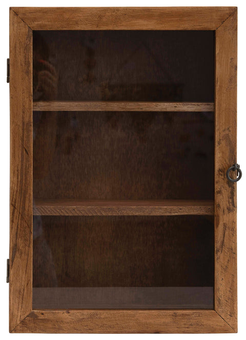 "20""H Mango Wood Cabinet with 3 Shelves and Glass Door with Hook and Eye Lock (Hangs or Sits)"