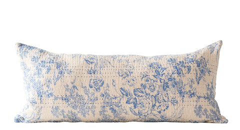 Blue Rectangle Cotton Chambray Pillow with Toile Pattern and Kantha Stitch