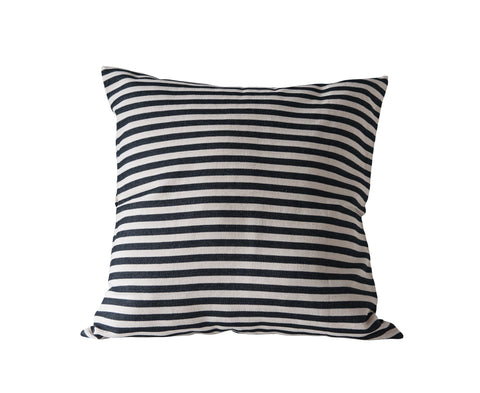Square Cotton Woven Pillow with Black and Cream Stripes