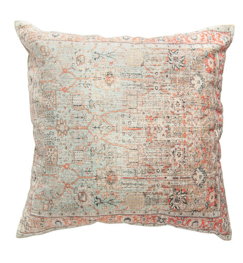 Heavily Distressed Multicolor Print Square Cotton Pillow