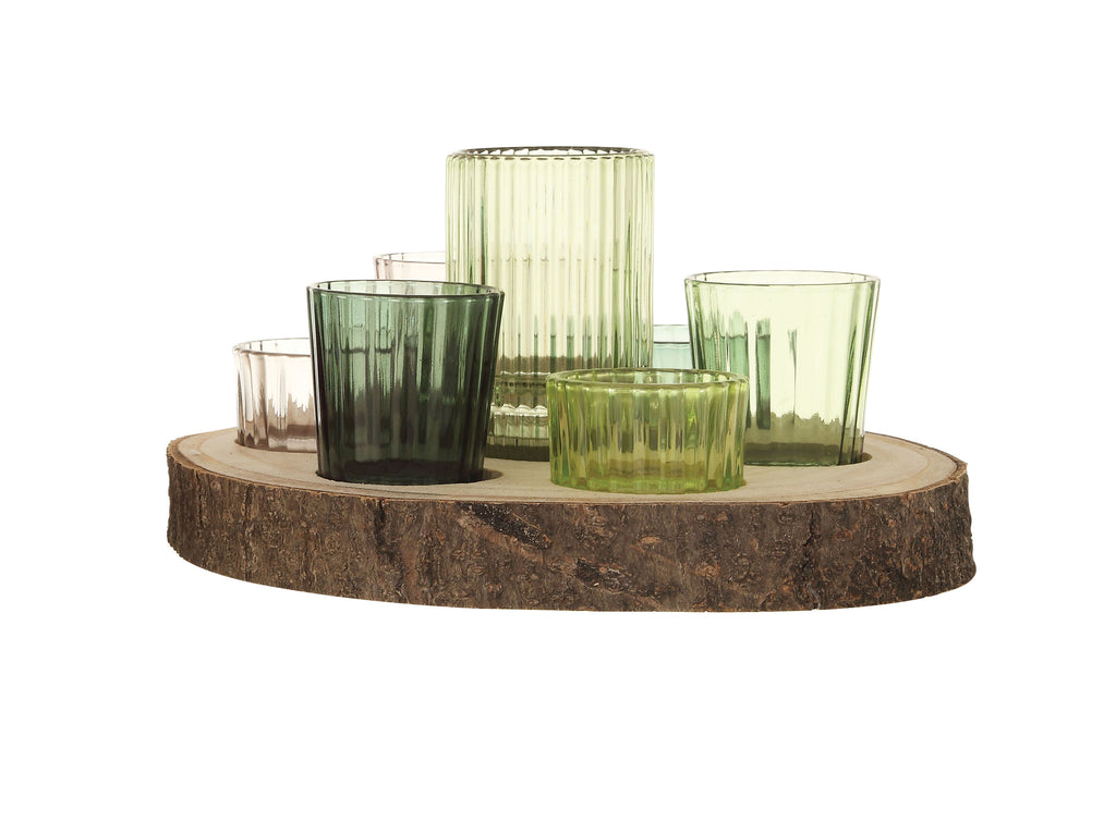 Paulownia Wood Slice with 7 Glass Votive Holders (Set of 8 Pieces)