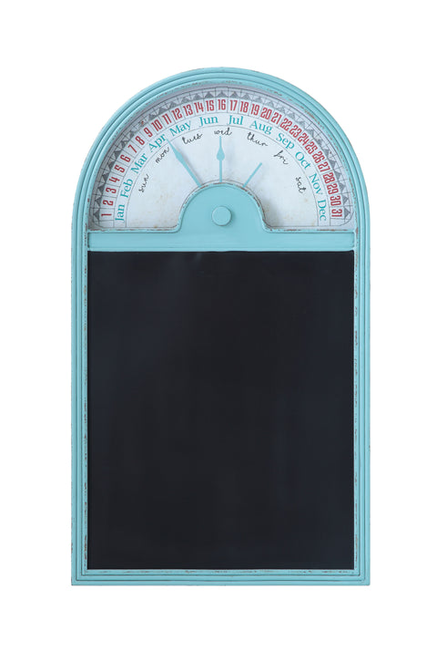 Distressed Aqua Vintage Reproduction Metal Perpetual Wall Calendar with Blackboard
