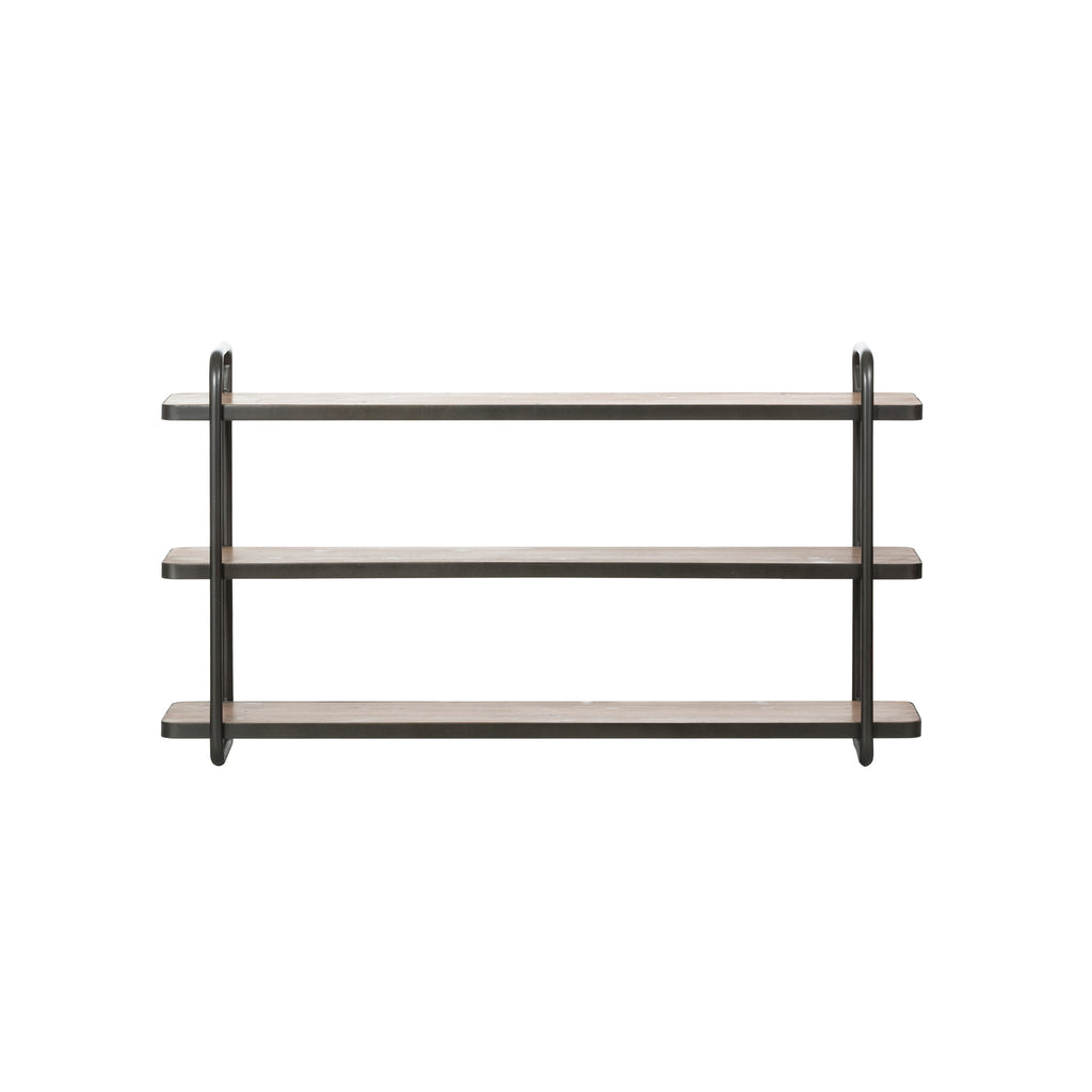 Fir Wood and Black Metal 3-Tier Wall Shelf (Hangs or Sits)