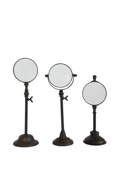 Metal Magnifying Glasses on Stands (Set of 3 Sizes)