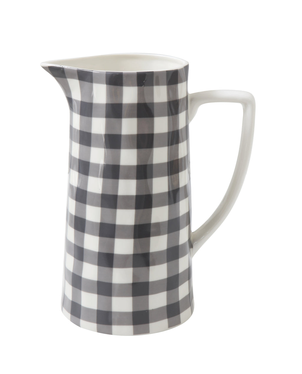 Black and White Gingham Stoneware Pitcher