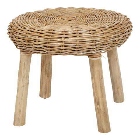 "18""H Handwoven Rattan Stool with Wood Legs"