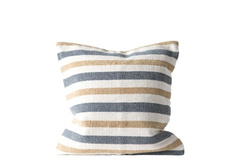 Grey and Sand Striped Square Cotton Woven Pillow