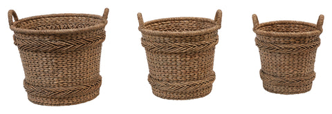 "14"", 17.5"" and 22"" Woven Water Hyacinth and Rattan Baskets with Handles (Set of 3 Sizes)"