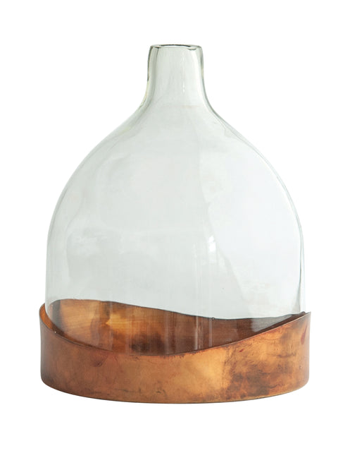 Glass Cloche with Antique Copper Finished Metal Tray (Set of 2 Pieces)