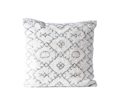 Black and White Square Cotton Tufted Pillow