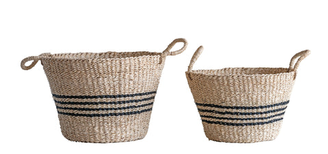 Beige Seagrass Baskets with Black Stripes and Handles (Set of 2 Sizes)