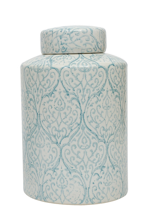 Blue and White Decorative Ginger Jar with Lid