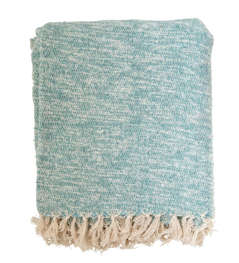 Cream and Aqua Blue Cotton and Acrylic Throw
