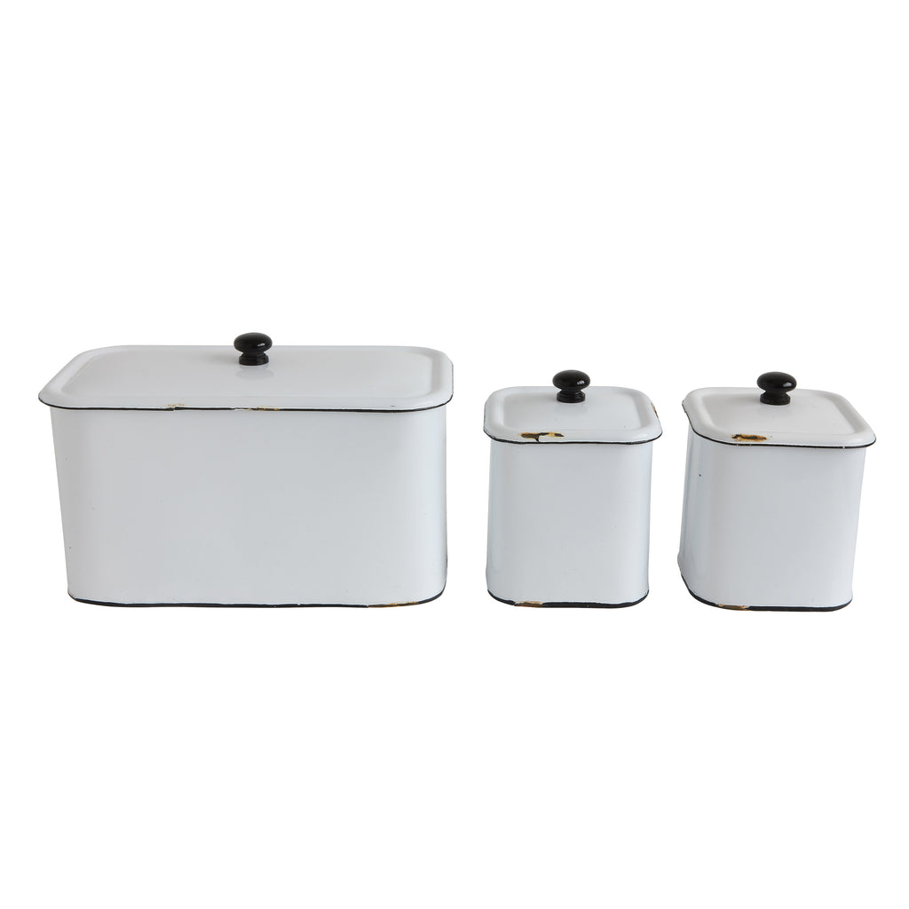 Set of 3 Distressed White Decorative Metal Boxes with Lids