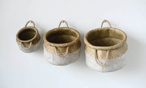 White and Beige Seagrass Baskets (Set of 3 Sizes)