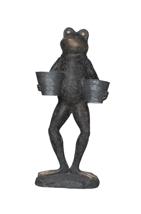 "28""H Resin Frog Figurine with 2 Bucket Planters"
